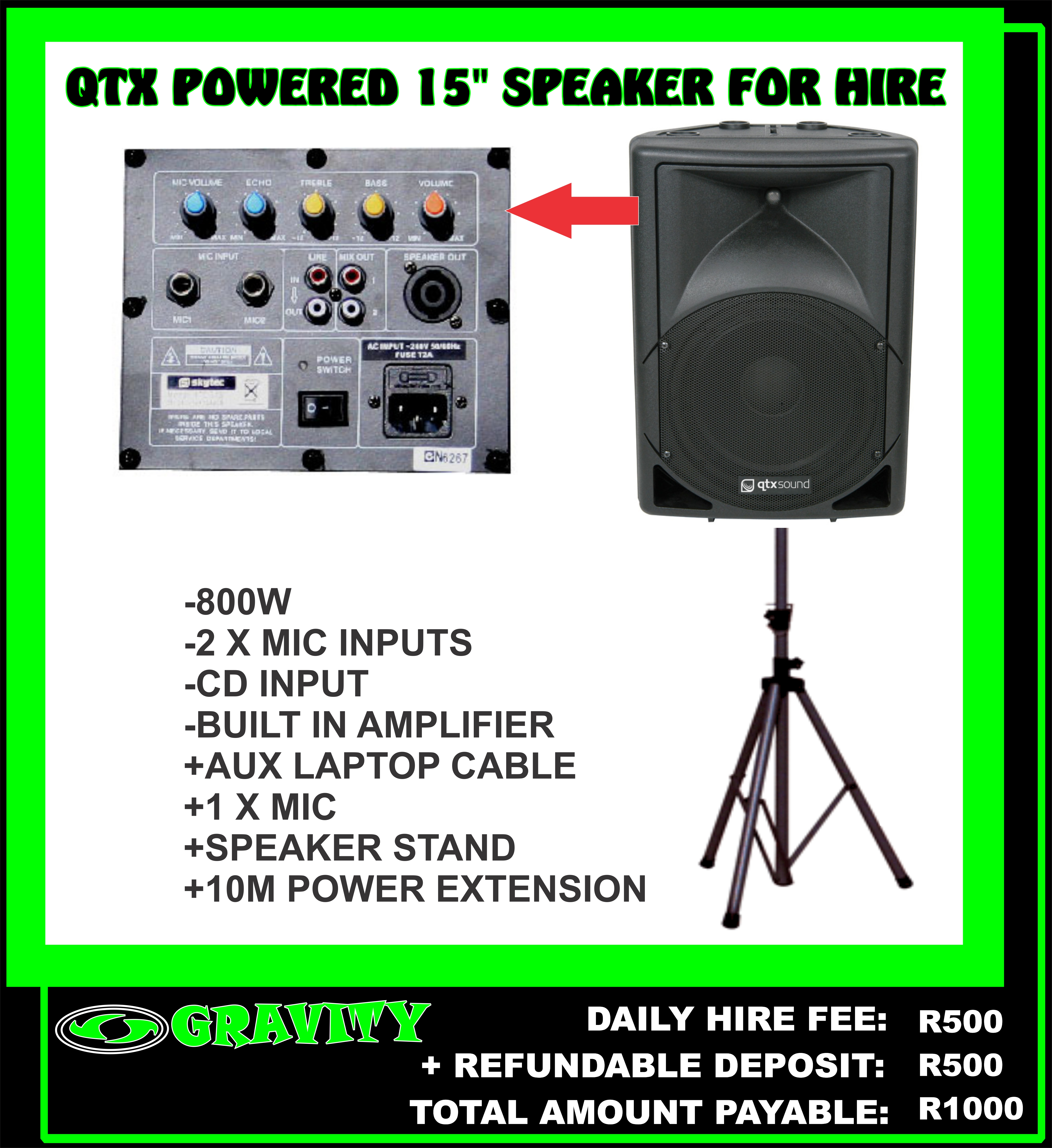 15' QTX POWERED 800W SPEAKER FOR HIRE IN DURBAN AT GRAVITY SOUND AND LIGHTING WAREHOUSE 0315072736  -AUX LAPTOP INPUT AND THE COMBO ALSO INCLUDES A MIC.  DAY HIRE FEE= R500