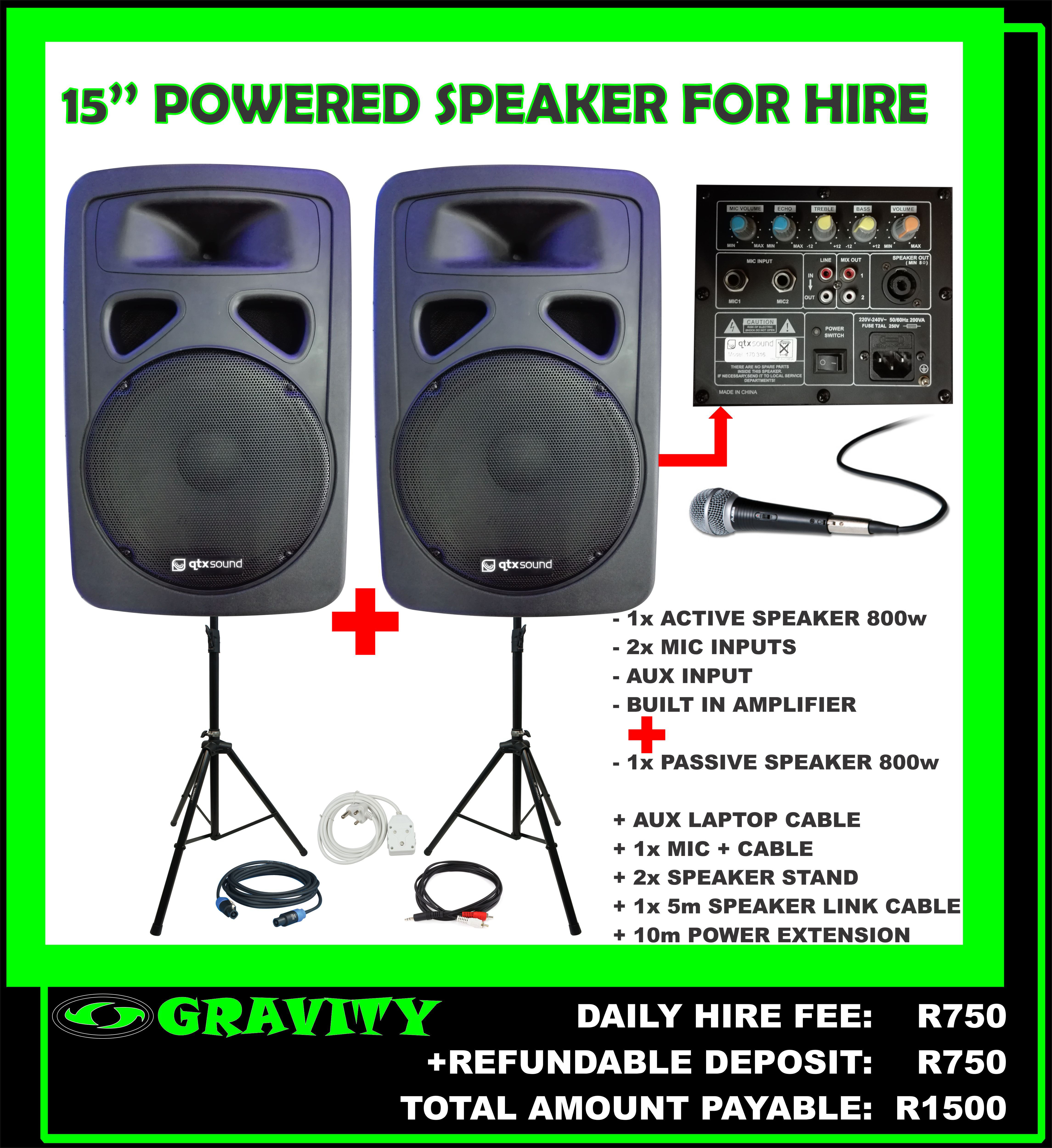 15'' powered speaker combo for hire 1 x powered speaker 1 x passive speaker gravity dj store 0315072463