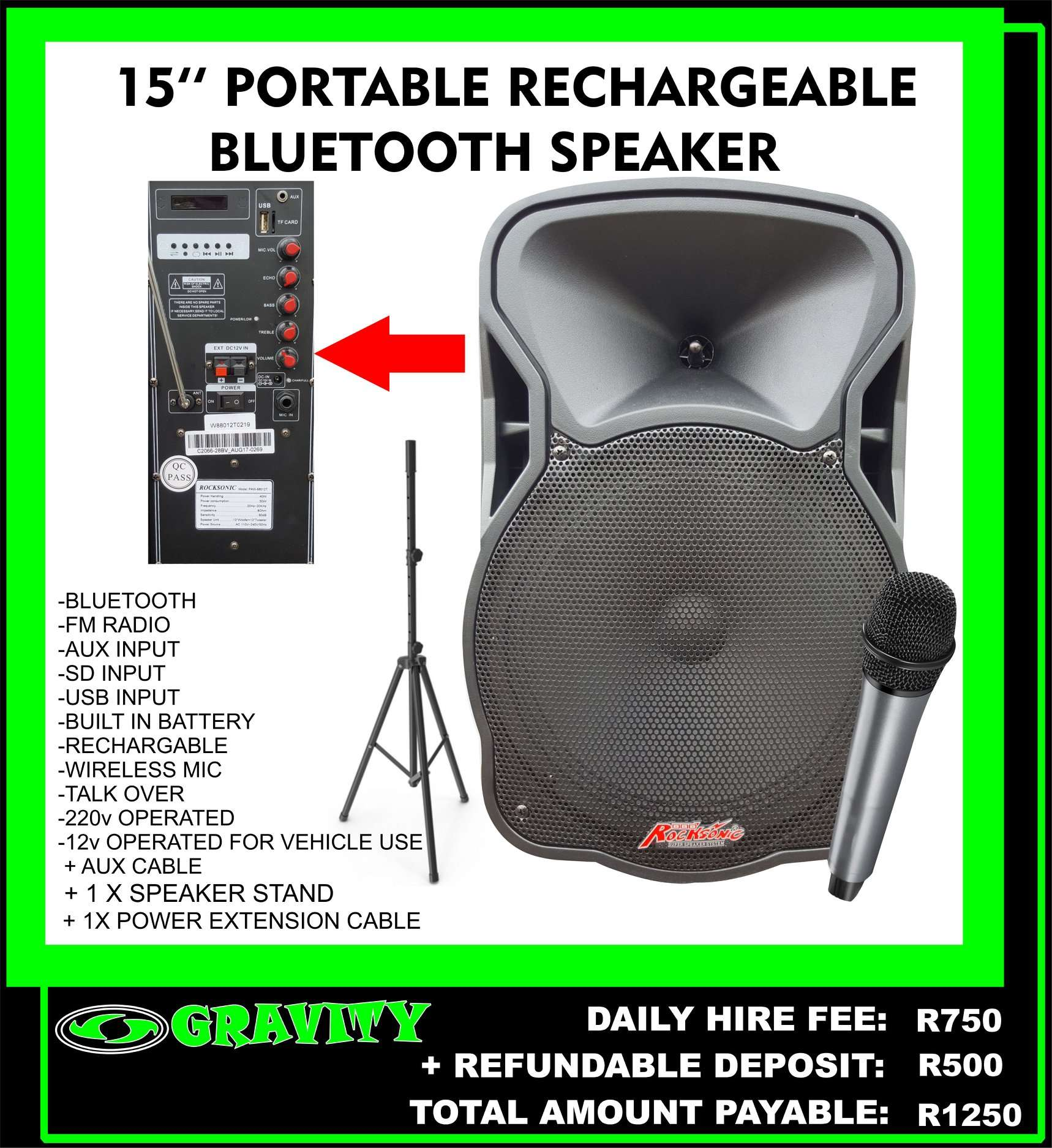 PLUG AND PLAY SOUND SYTEM  -BLUETOOTH FEATURE  -USB MP3 INPUT  -CORDLESS MIC  -500W POWERED SPEAKER  -FULLY RECHARGEABLE / BATTERY OPERATED SPEAKER TO BE USED WIRELESS    BATTERY LASTS UP TO 3 HOURS ON A FULL CHARGE  DAY HIRE FEE = R500