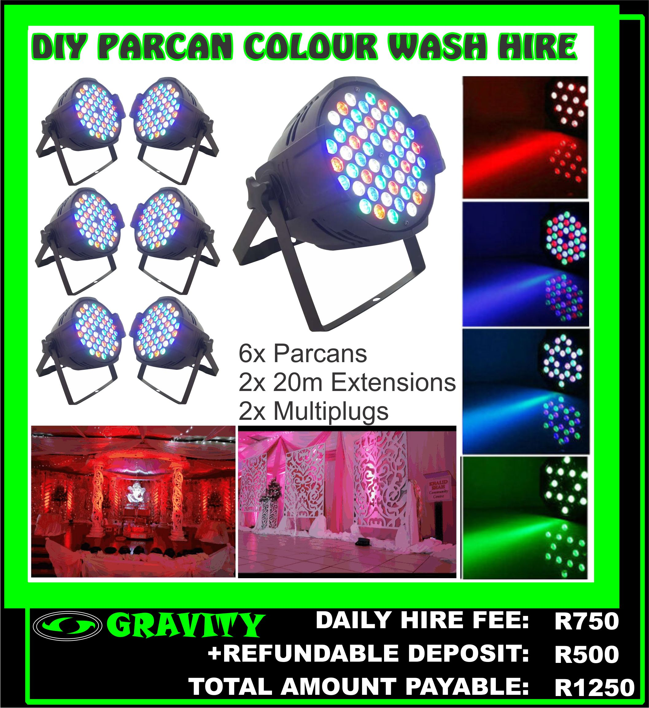 COLOUR WASH YOUR FUNCTION VENUE  COLOUR WASH THE VENUE STAGE  COLOUR WASH THE HALL  PACKAGES NOW AVAILABLE AT GRAVITY SOUND & LIGHTING WAREHOUSE DURBAN  YOU CHOOSE THE COLOUR WASH ACCORDING TO YOUR PARTY THEME..CONTACT US TODAY 0315072463