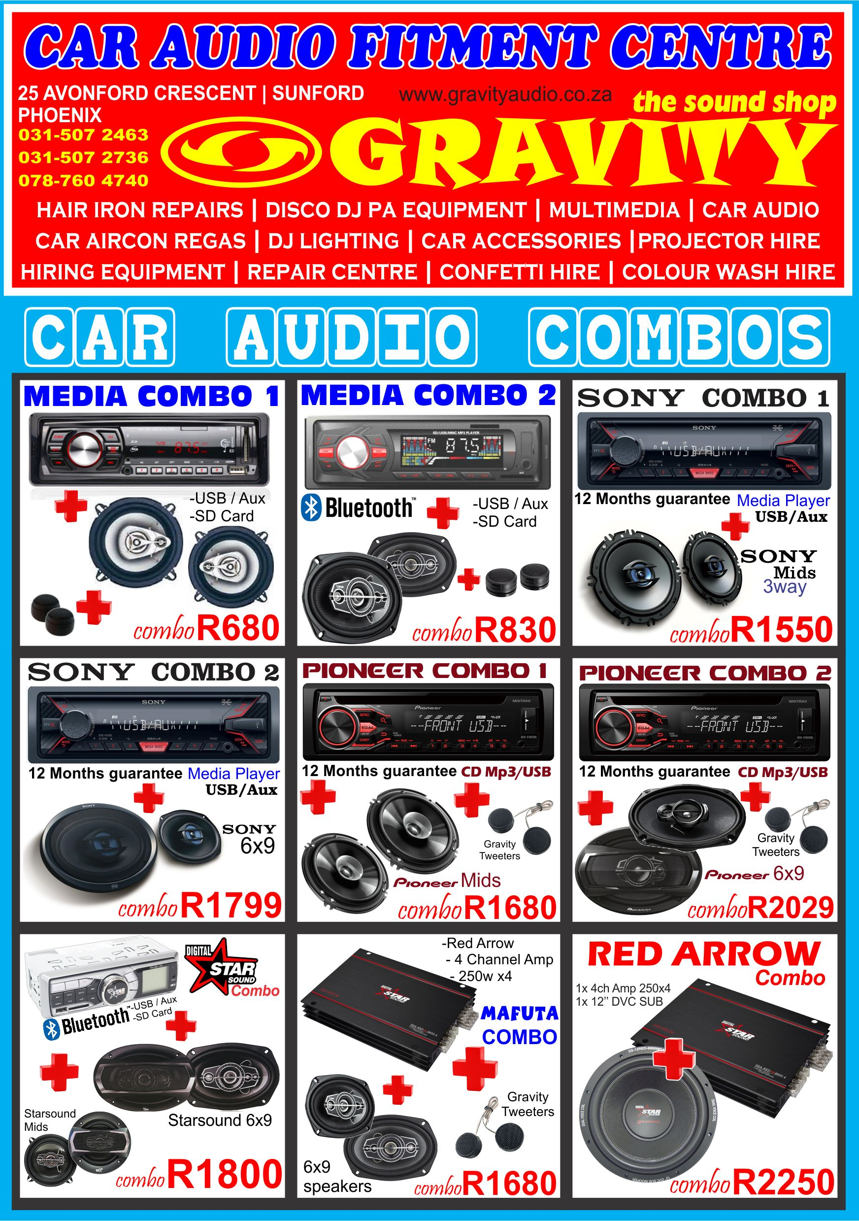 car audio combo , car audio equipment , sony , pioneer ,jvc , kicker , targa , xtc , jbl . starsound