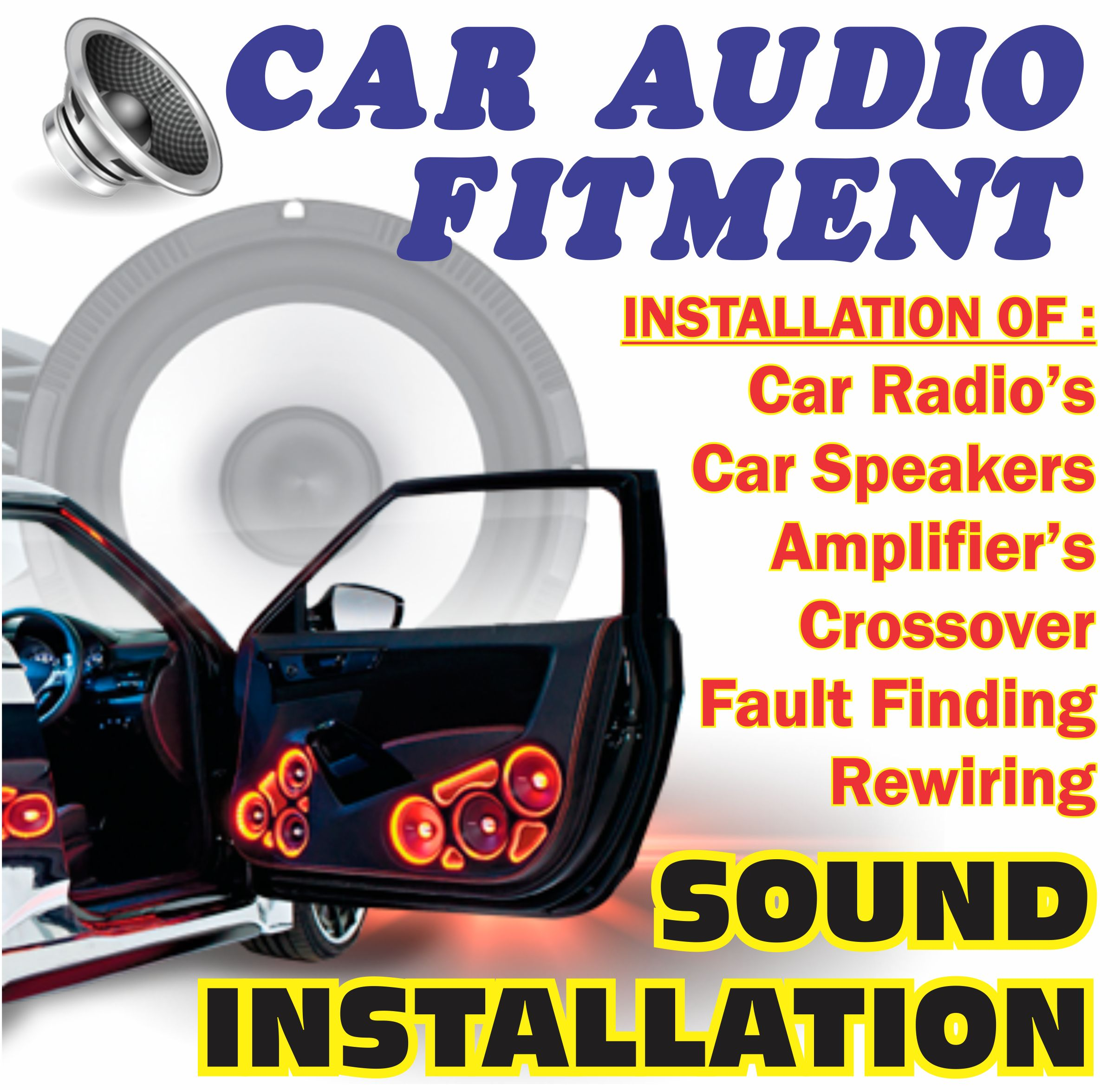 Image Audio 4.2   (29) � Car stereo store Umhlanga � 031 566 6444 Closes soon ? 5PM  SOUNDLAB 3.6   (23) � Car stereo store Durban � 031 823 7248 Open now  Soundlab Durban 3.7   (6) � Car stereo store Durban � 031 368 1040 Closes soon ? 5PM More places  Web results Car sound fitment in KwaZulu-Natal | Gumtree ... - Durban https://www.gumtree.co.za ? s-kwazulu+natal ? car+sound+fitment Results 1 - 20 of 51 - Find car sound fitment in KwaZulu-Natal! View Gumtree Free Online Classified Ads for car sound fitment and more in KwaZulu-Natal. Car sound fitment in Durban City | Gumtree Classifieds in ... https://www.gumtree.co.za ? s-durban-city ? car+sound+fitment Find car sound fitment in Durban City! View Gumtree Free Online Classified Ads for car sound fitment and more in Durban City. Image Audio Umhlanga https://imageaudio.co.za Jul 10, 2015 - Welcome to Image Audio Umhlanga. We pride ourselves on being one of SA's leading Auto Fitment Centres ? specialising in Custom Sound ... ?In Car Entertainment � ?Aftermarket Fitment � ?Custom Car Audio � ?Contact Us Jays Auto Care: Fitment centre Umhlanga | Car alarms ... https://jaysautocare.co.za Fitment centre Umhlanga | vehicle tracking, sound systems & car alarms. Jays Auto Care in Umhlanga, Durban are a leading vehicle fitment centre specialising in the installation of security car alarms, sat nav vehicle navigation and car stereo sound systems. We replace old parts with leading factory brands. The 10 Best Car Audio Specialists in Springfield, Durban ... https://www.snupit.co.za ? durban ? springfield ? car-audio-fitment Get quotes from the most trusted Car Audio Specialists in Durban. Rated and ... Top 10 Best Car Audio Specialists for car audio fitment in Springfield, Durban. Soundlab ? sound equipment, service and fitment https://soundlab.co.za Audio Gods 8inch High Performance Subwoofer with built in amp. R2,200.00 R1,099.00 Add to cart � Sale! Audio Gods 10 inch High Performance Subwoofer. ?Targa � ?Dr Artex � ?12? Subwoofer + 4 channel ... Car Audio - Durban - Max Motorsport https://www.maxmotorsport.co.za ? audio Vibe Anti Sound Deadening Mats. R70.00 ... Sound Stream RCA Cable 1M 2 into 2. R80.00 .... Audio Gods Thor Series 6