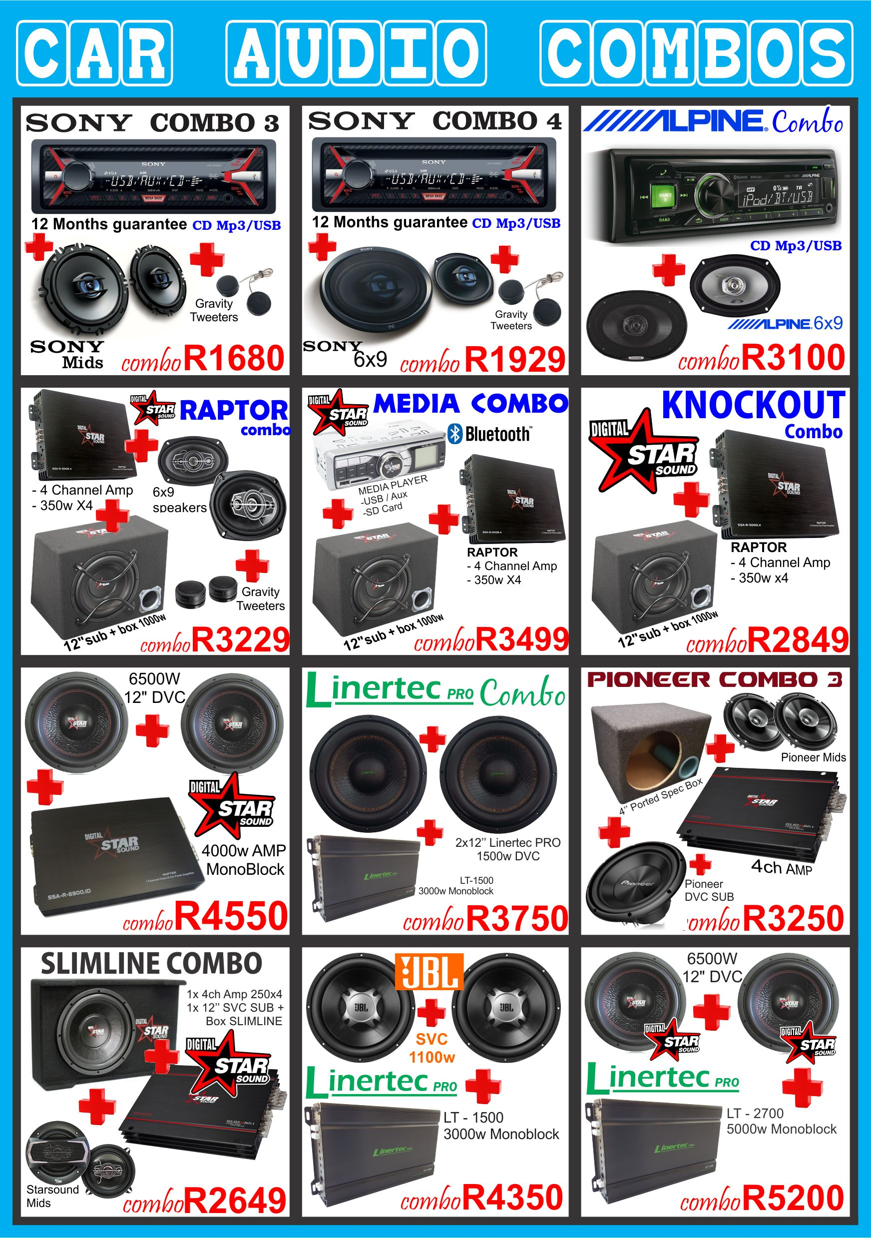 car audio combo , car audio equipment , sony , pioneer ,jvc , kicker , targa , xtc , jbl . starsound gravity durban