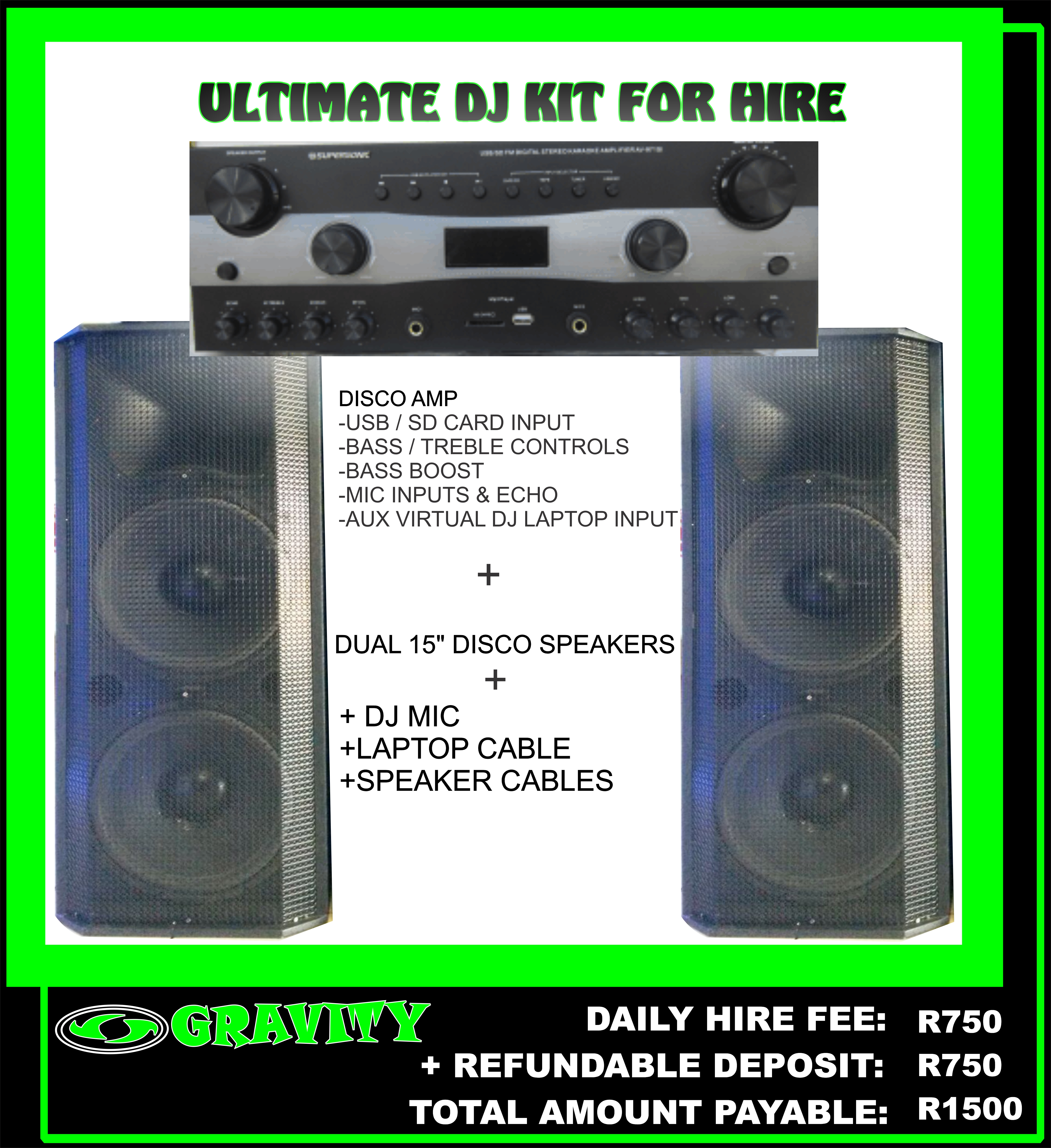 THE ULTIMATE DJ COMBO SOUND SYSTEM FOR HIRE  PLUG & PLAY SYSTEM  >DISCO AMPLIFIER   -700W   -USB & SD CARD INPUTS   -AUX VIRTUAL DJ LAPTOP INPUT   -MIC INPUTS & ECHO   -BASS BOOST  + DUAL 15