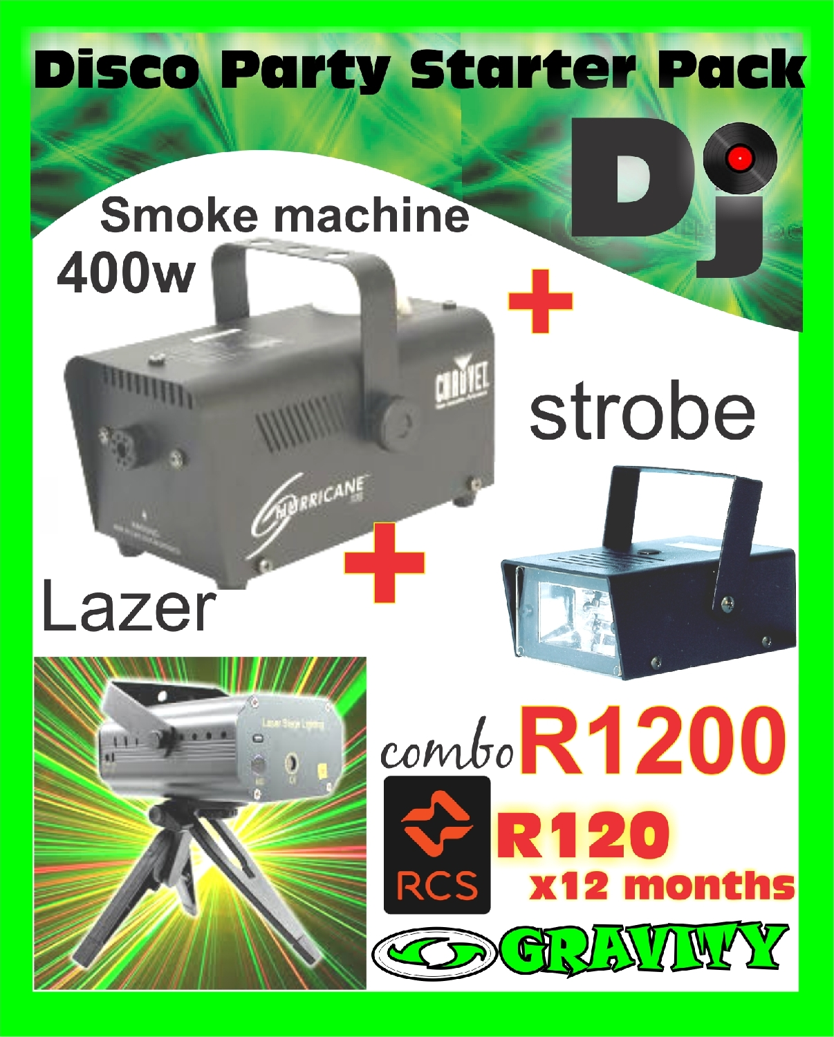 dj combo light for sale at gravity dj store durban 0315072463  smoke ...lazer light...strobe light....combo R995 cash deal...Rcs credit card accepted as well