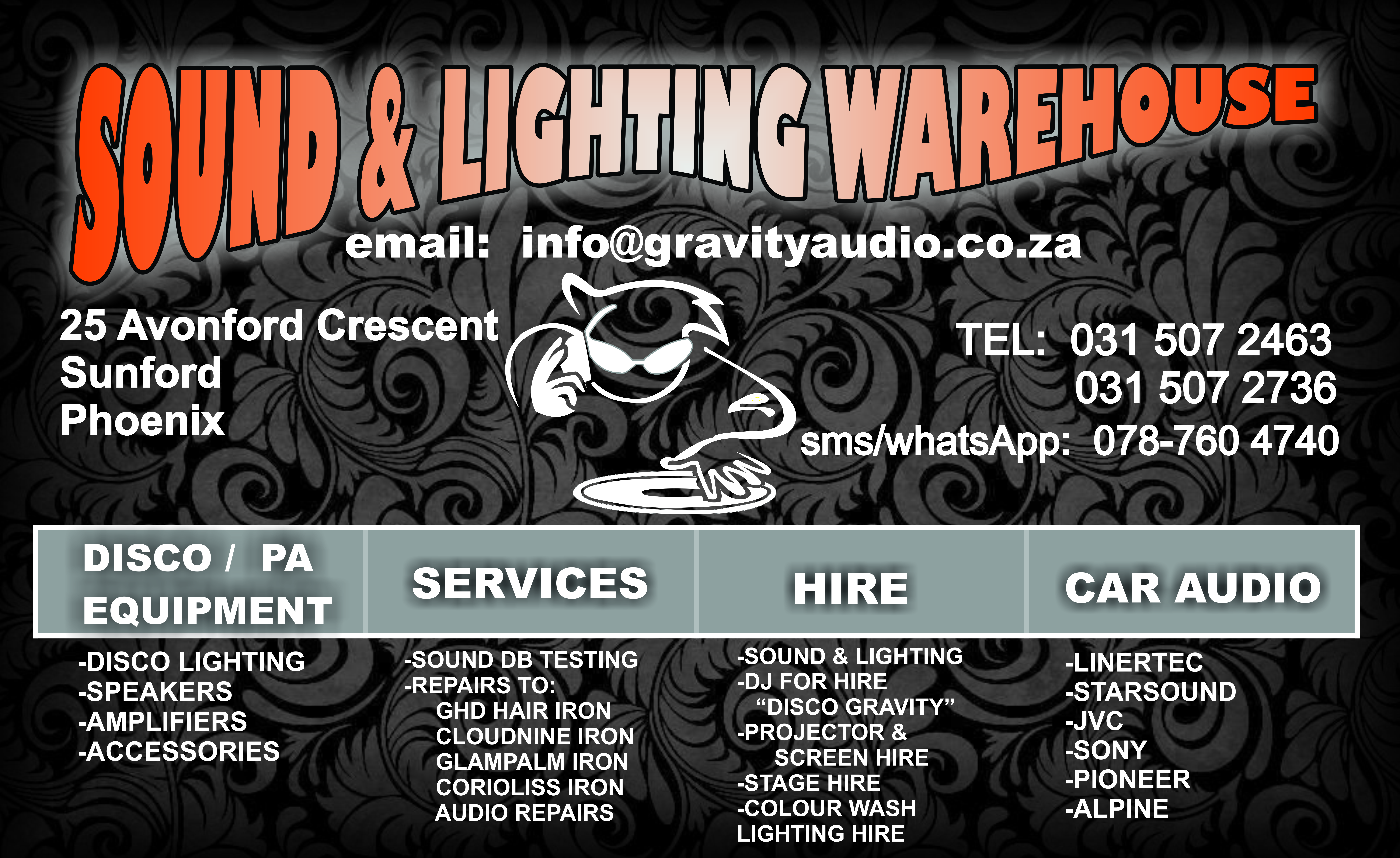 GRAVITY AUDIO DJ STORE SOUND LIGHTING GRAVITY GHD REPAIRS 0787604740
