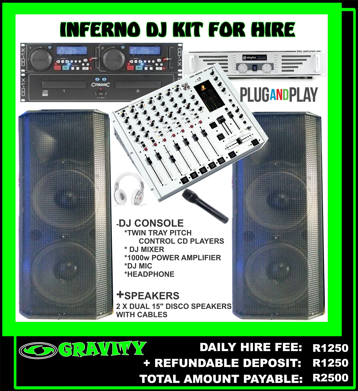 INFERNO DJ COMBO SOUND KIT FOR HIRE IN DURBAN AT GRAVITY DJ STORE 0315072736