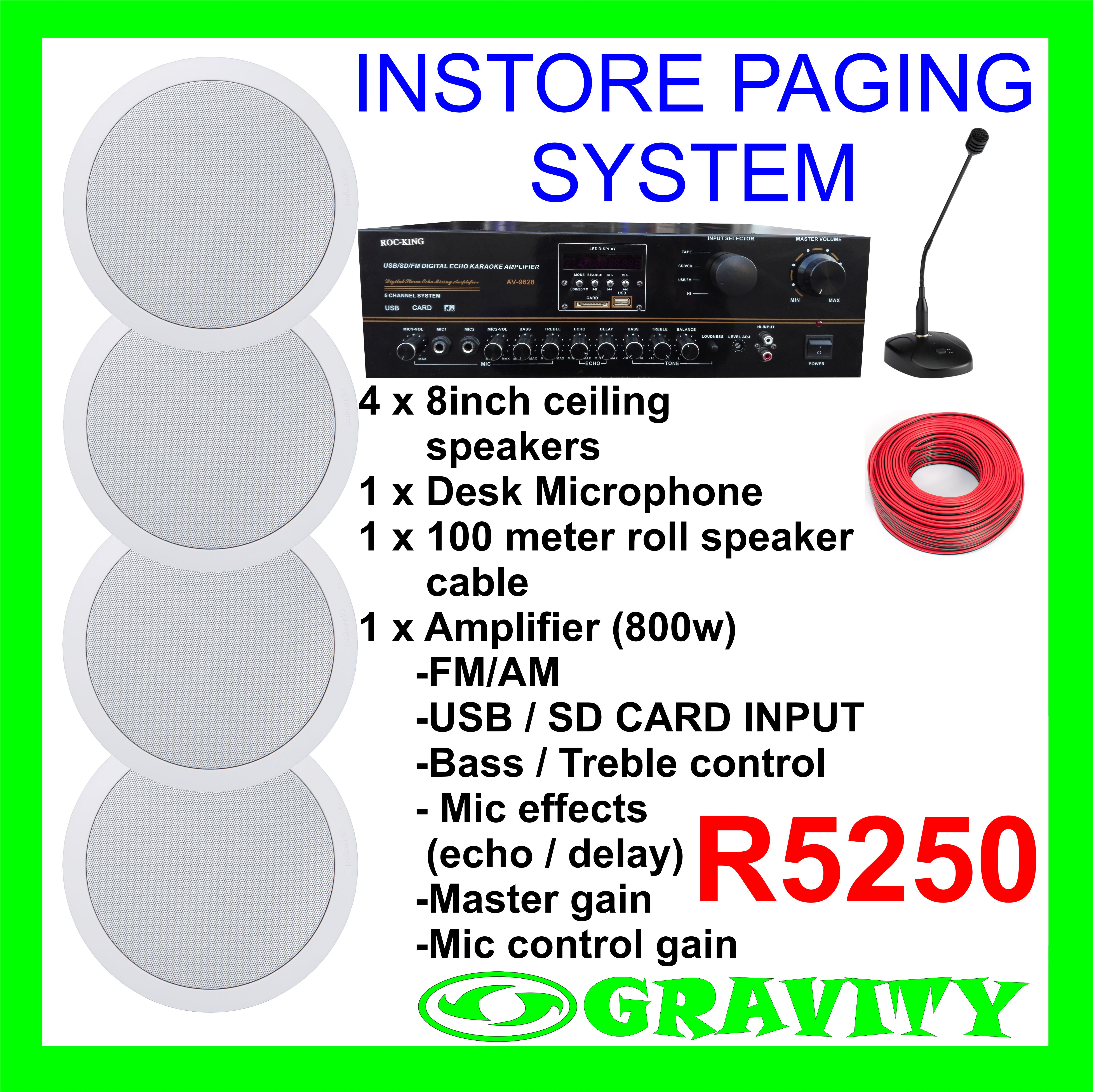 INSTORE PAGING SYSTEM COMBO  INSTORE COMMUNICATION SYSTEM IN STORE MUSIC SYSTEM IN STORE INTERCOM SYSTEM NOW AVAILABLE AT GRAVITY SOUND AND LIGHTING WAREHOUSE 0315072463