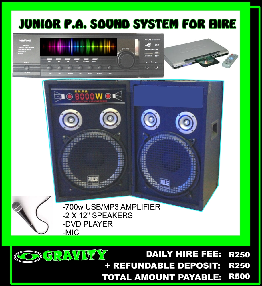 SOUND EQUIPMENT FOR HIRE - GRAVITY DJ STORE GRAVITY SOUND