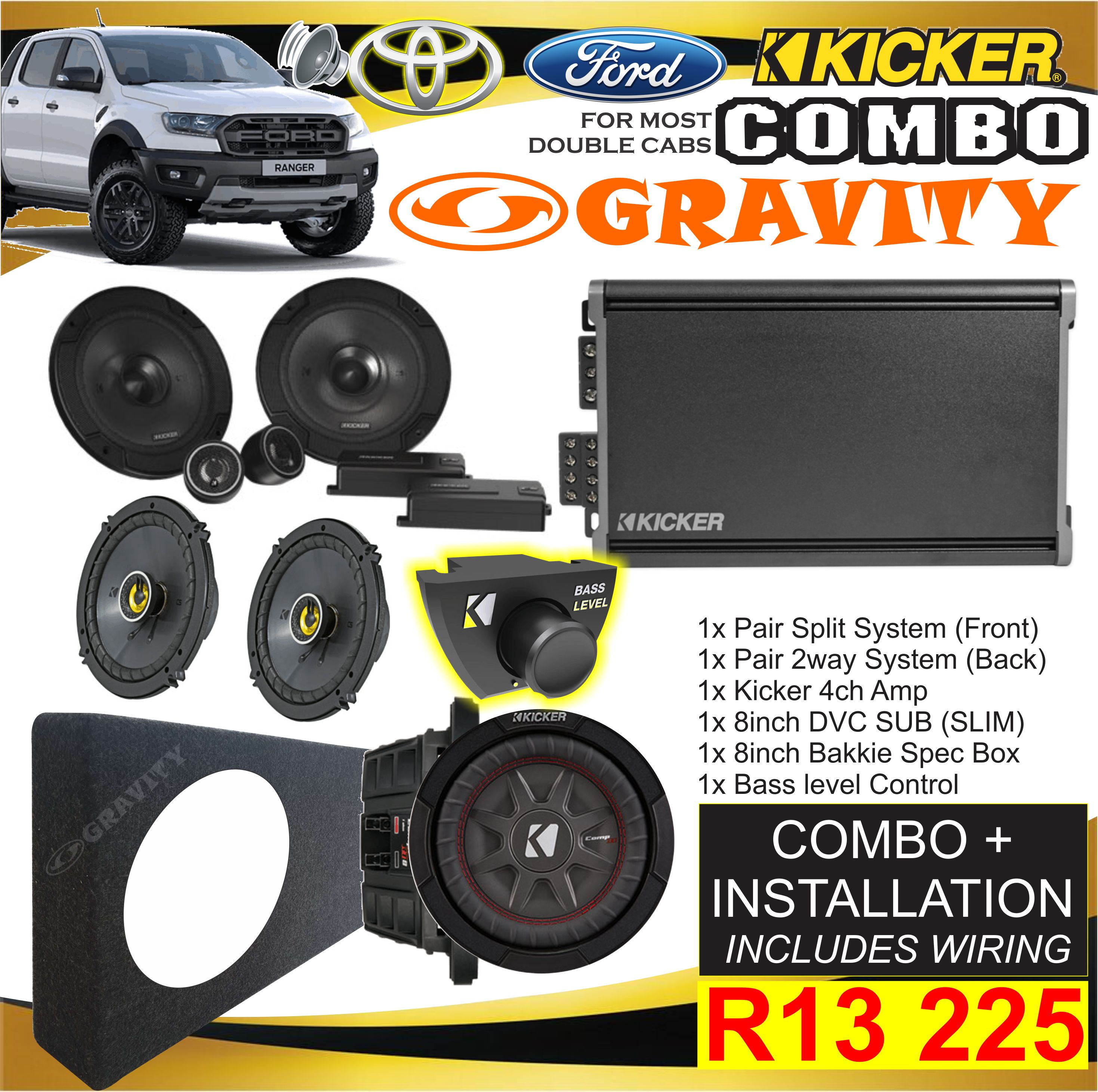 car audio combo , car audio equipment , sony , pioneer ,jvc , kicker , targa , xtc , jbl . starsound , focal , one nav , ford ranger combo , toyota hilux combos , double cab combos