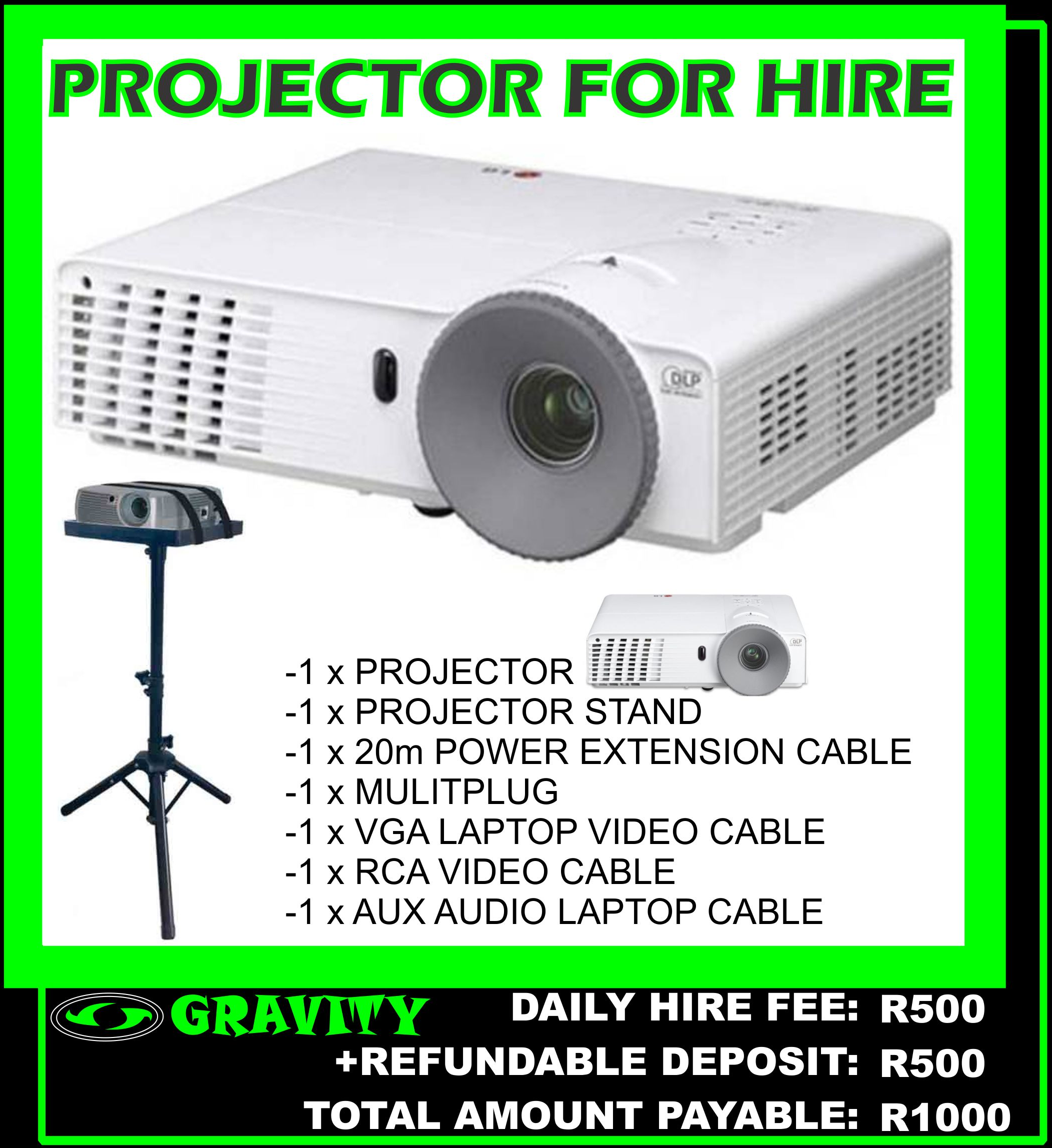 1.5m PROJECTOR SCREEN AND PROJECTOR COMBO FOR HIRE IN DURBAN AREA NOW AVAILABLE ON DAILY HIRE AT GRAVITY SOUND AND LIGHTING WAREHOUSE DURBAN PHOENIX 0315072463  OR 0315072736  DAILY HIRE FEE: R850  PROJECTOR +  1.5m PROJECTOR SCREEN  +  AND PROJECTOR ACCESSORIES     DOCUMENTS REQUIRED WHEN HIRING EQUIPMENT:  *COPY OF ID DOCUMENT (original SA id)  *CAR REGISTRATION NUMBER  *PROOF OF RESIDENCE (not older than 3months)