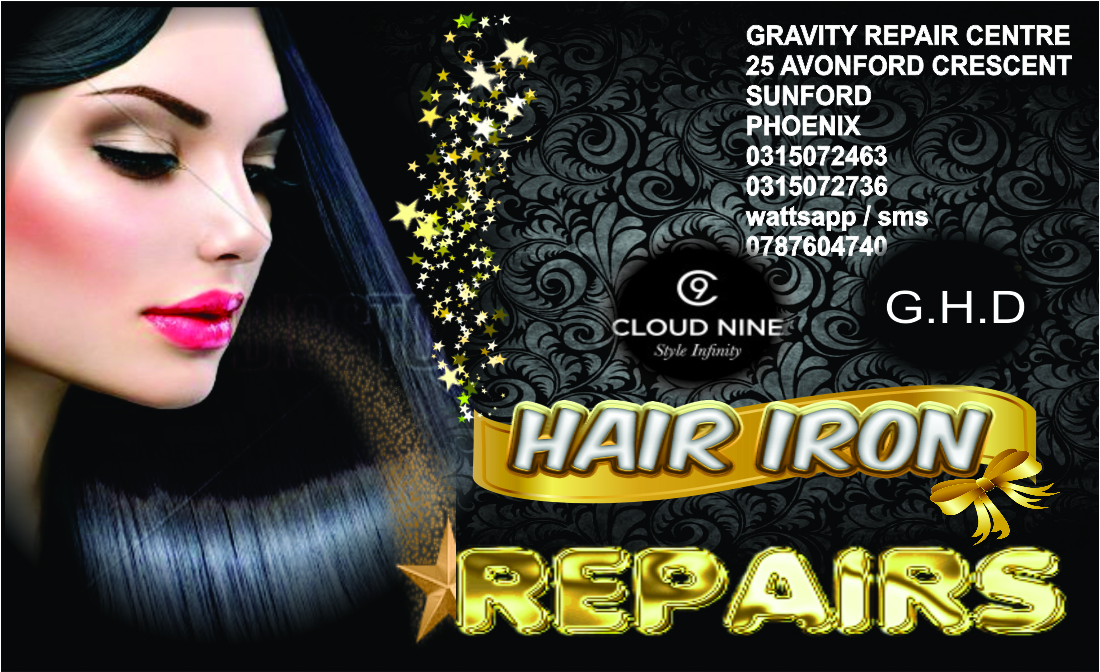GRAVITY REPAIR CENTRE FOR ALL HAIR IRON REPAIRS PROFESSIONALLY DONE AT A PROFESSIONAL STORE. BOOK IN YOUR BROKEN OR DAMAGED HAIR IRON IN TODAY FOR A QUOTE. AT GRAVITY 0315072463..SPECIALIST ..