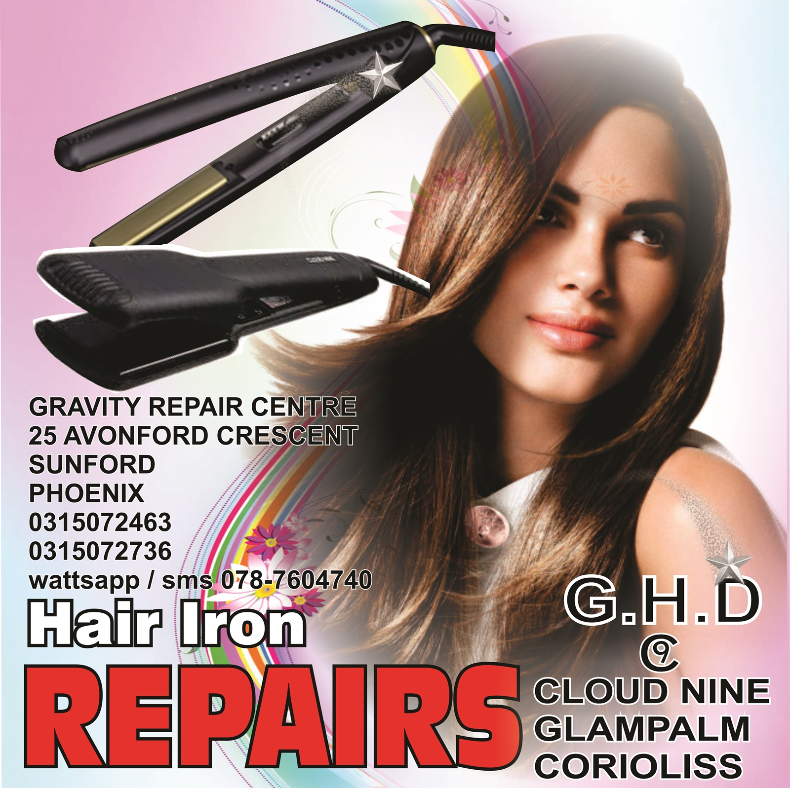 GHD REPAIRS CLOUD 9 REPAIRS GLAMPALM HAIR IRON REPAIRS CLOUDNINE HAIR IRON  REPAIRS BHE HAIR IRONS SPECIALIST veaudrey hair iron repair agents gravity 0787604740