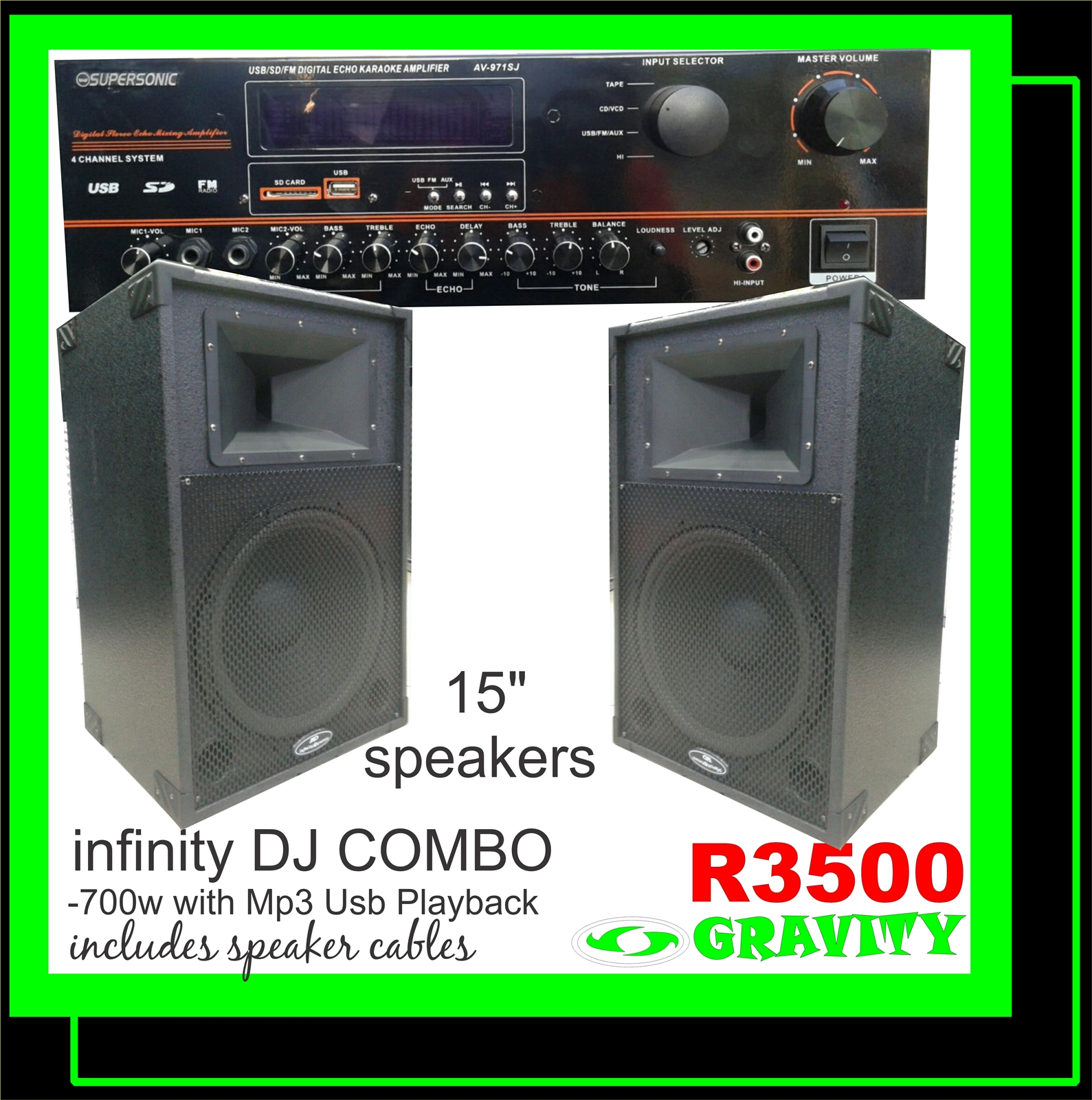 supersonic dj combo for sale at gravity dj store omega 15inch combo infinity dynamic disco speaker combo set gravity audio sound shop